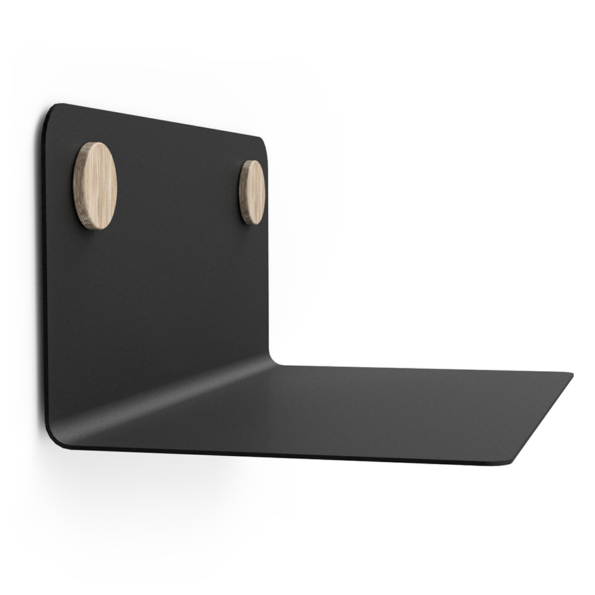 FLOAT SHELF 35 BLACK w. oak Dots